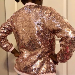 H&M Girls Sequin Bomber Jacket Size 8-9Y